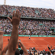 Robin Soderling, Sweden celebrates his  victory over Rafael Nadal, Spain, during the round four match at the French Open Tennis Tournament at Roland Garros, Paris, France on Sunday, May 31, 2009. Photo Tim Clayton.
