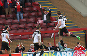 Ash Taylors Goal Celebration during the Ladbrokes Scottish Premiership match between Motherwell and Aberdeen at Fir Park, Motherwell, Scotland on 15 August 2015. Photo by Craig McAllister.