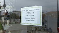 Signage in Russian on the Costa del Sol, Spain, shows its popularity with Russian ex-pats & tourists. Russian shop announces it speaks Spanish & English. February, 2015, 201502070438<br /> <br /> Copyright Image from Victor Patterson, 54 Dorchester Park, Belfast, UK, BT9 6RJ<br /> <br /> t: +44 28 9066 1296<br /> m: +44 7802 353836<br /> vm +44 20 8816 7153<br /> <br /> e1: victorpatterson@me.com<br /> e2: victorpatterson@gmail.com<br /> <br /> www.victorpatterson.com<br /> <br /> IMPORTANT: Please see my Terms and Conditions of Use at www.victorpatterson.com