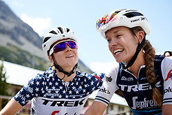 Tayler Wiles (USA) and Ruth Winder (USA) catch up after Stage 5 of 2019 Giro Rosa Iccrea, a 88.8 km road race from Ponte in Valtellina to Lago di Cancano, Italy on July 9, 2019. Photo by Sean Robinson/velofocus.com
