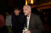 Eddie Slimane and Mourad Mazouz. Tracey Emin's ' When I Think about Sex' exhibition after-party. Momo. Heddon St. London. 26 May 2005. ONE TIME USE ONLY - DO NOT ARCHIVE  © Copyright Photograph by Dafydd Jones 66 Stockwell Park Rd. London SW9 0DA Tel 020 7733 0108 www.dafjones.com