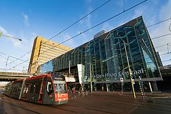 Exterior of Den Haag Centraal railway station in The Hague, Netherlands
