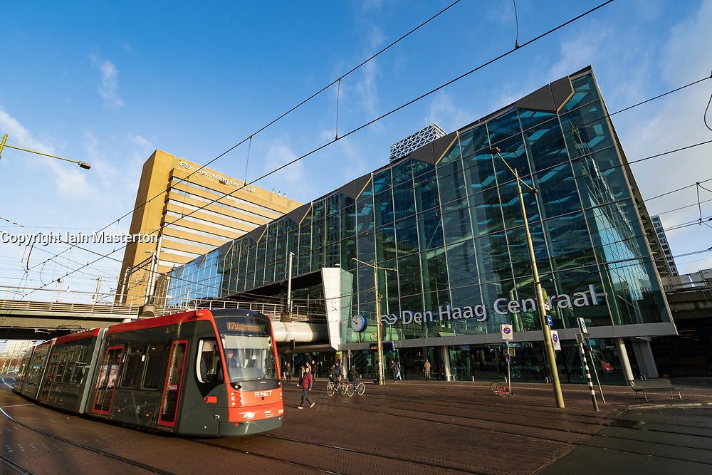 Exterior of Den Haag Centraal railway station in The Hague, Netherlands