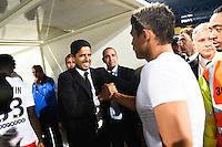 Joie PSG Champion - Thiago SILVA / Nasser AL KHELAIFI - 16.05.2015 - Montpellier / Paris Saint Germain - 37eme journee de Ligue 1<br />Photo : Alexandre Dimou / Icon Sport