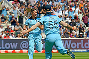 Wicket - Chris Woakes of England celebrates taking the wicket of Peter Handscomb of Australia during the ICC Cricket World Cup 2019 semi final match between Australia and England at Edgbaston, Birmingham, United Kingdom on 11 July 2019.