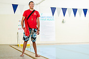 Photos a young lifeguard at the Euclid Family YMCA on Feb. 20, 2014.