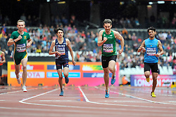 22/07/2017 : Paul Keogan (IRL), Charl Du Toit (RSA), Valentin Bertrand (FRA), Sajjad Alwahhah (IRQ), T37, Men's 400m, Heat, at the 2017 World Para Athletics Championships, Olympic Stadium, London, United Kingdom