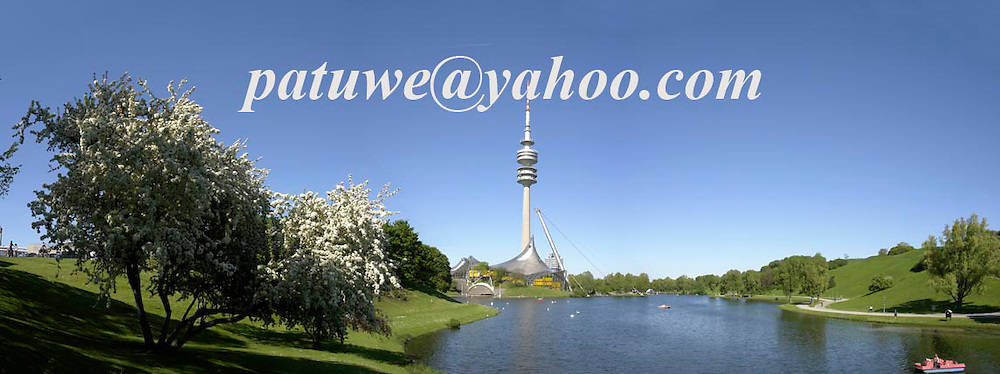 Lake at Olympic park, Munich; Bavaria, Germany. Munich held the Olympic games in 1972.