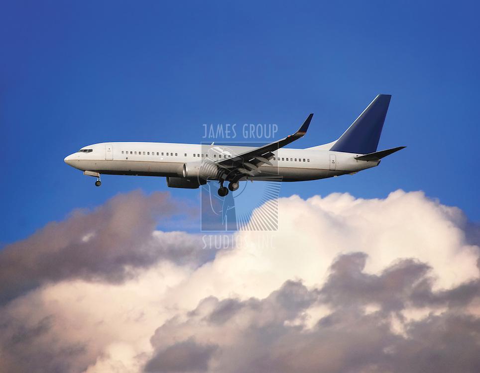 Commercial jetliner at cloud level