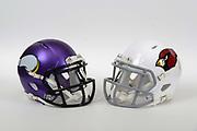 A view of Minnesota Vikings and Arizona Cardinals helmets on Thursday, November 2, 2017. (Kirby Lee via AP)
