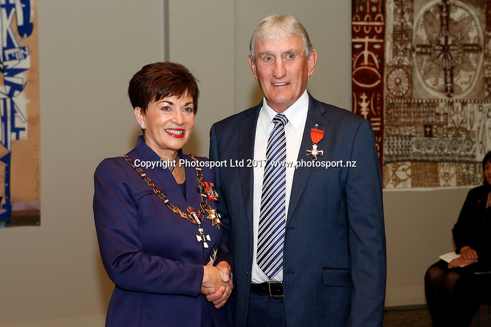 Ray Haffenden receives the insignia of a member of the New Zealand order of merit for services to rugby league from the govenor general Dame Patsy Reddy. Auckland investitures at Government House, Auckland. 17 August 2017. Copyright Image: William Booth / www.photosport.nz