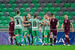 Anej Lovrecic #25 of Olimpija, Nikola Nikezic #18 of Olimpija, Erik Salkic #33 of Olimpija celebrate during football match between NK Olimpija Ljubljana and NK Triglav in 18th Round of PrvaLiga NZS 2012/13  on November 10, 2012 in SRC Stozice, Ljubljana, Slovenia. Real Madrid defeated Union Olimpija 89-76. (Photo By Vid Ponikvar / Sportida)
