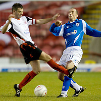 Clyde v St Johnstone....15.11.08<br /> Paul Sheerin gets a sore on from Stuart Kettlewell<br /> <br /> Picture by Graeme Hart.<br /> Copyright Perthshire Picture Agency<br /> Tel: 01738 623350  Mobile: 07990 594431