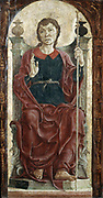 St James'. Tempera on panel. Cosimo Tura (c1430-1495) Italian Early-Renaissance (Quattrocento) painter. St James the Great (St James the Apostle, St James of Compostello) enthroned, holding pilgrim staff and right hand raised in blessing.