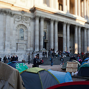 St Paul's Cathedral with tents around it. People have been living in the square since Oct 15th.The camp Occupy London Stock Exchange outside St Paul's Cathedral was in the morning served with eviction notice after months of legal battle with the Corporation of London. The site was occupied Oct 15th 2011.