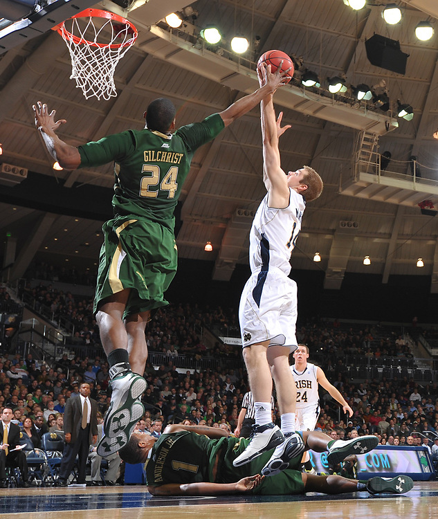 Notre Dame Fighting Irish guard Scott Martin (14) grabs a rebound over South Florida Bulls forward Ron Anderson, Jr. (1) and Augustus Gilchrist (24).