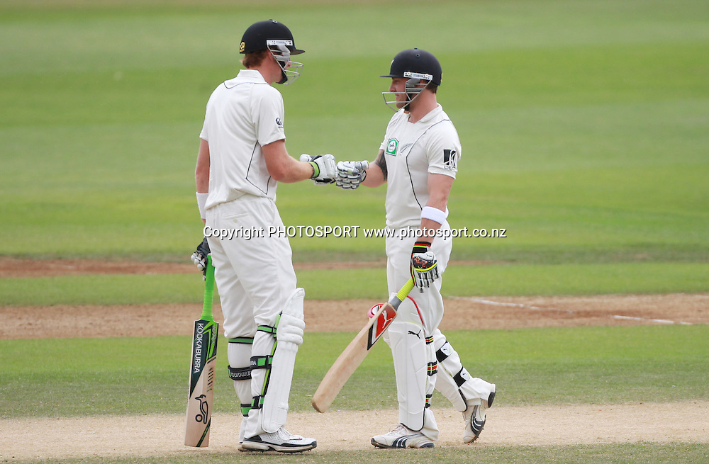 Martin Guptill and Brendon McCullum during their 100 run opening stand on Day 4 of the 2nd test match.  New Zealand Black Caps v Pakistan, Test Match Cricket. Basin Reserve, Wellington, New Zealand. Tuesday 18 January 2011. Photo: Andrew Cornaga/photosport.co.nz