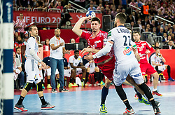 Marko Mamic of Croatia vs Luka Karabatic of France during handball match between National teams of Croatia and France on Day 7 in Main Round of Men's EHF EURO 2018, on January 24, 2018 in Arena Zagreb, Zagreb, Croatia.  Photo by Vid Ponikvar / Sportida