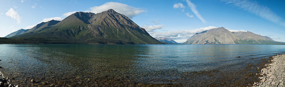 Composite panorama of Kathleen Lake including the Kings Throne mountain in Kluane National Park outside of Haines Junction, Yukon, Canada. Summer. Morning.