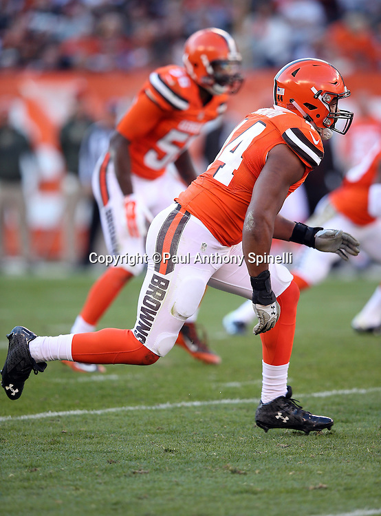 Cleveland Browns outside linebacker Nate Orchard (44) chases the action during the 2015 week 8 regular season NFL football game against the Arizona Cardinals on Sunday, Nov. 1, 2015 in Cleveland. The Cardinals won the game 34-20. (©Paul Anthony Spinelli)