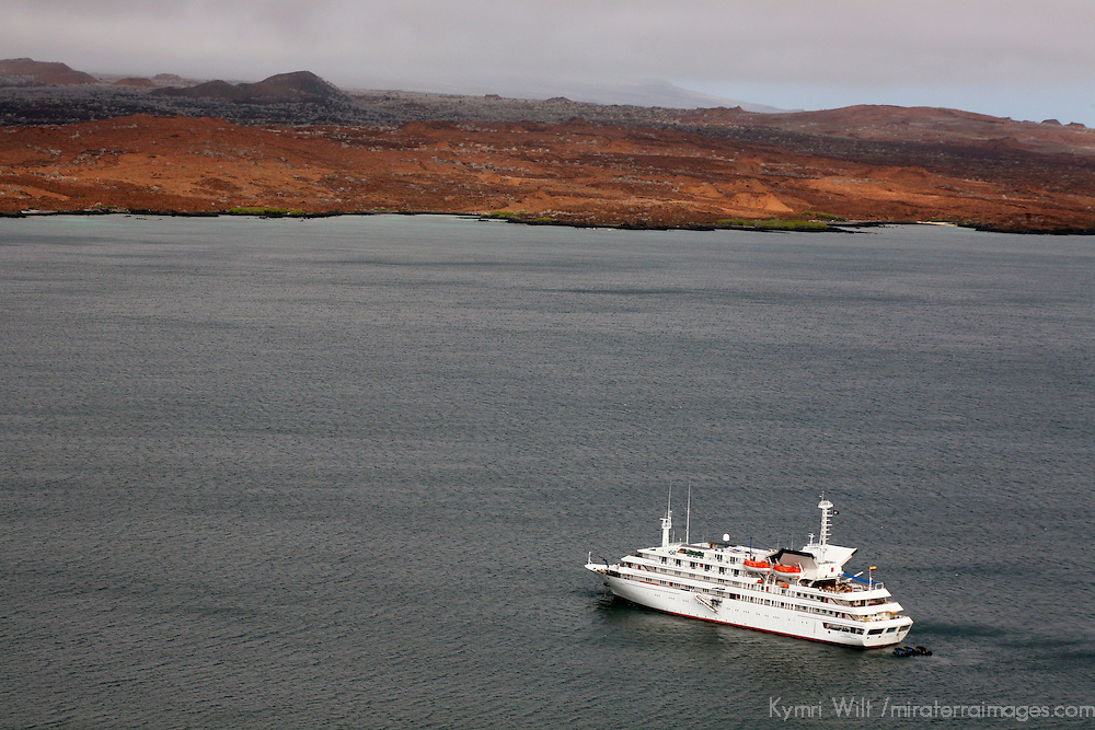 South America, Ecuador, Galapagos Islands, Bartholomew Island. The MV Galapagos Explorer II anchored off Bartholomew Island.