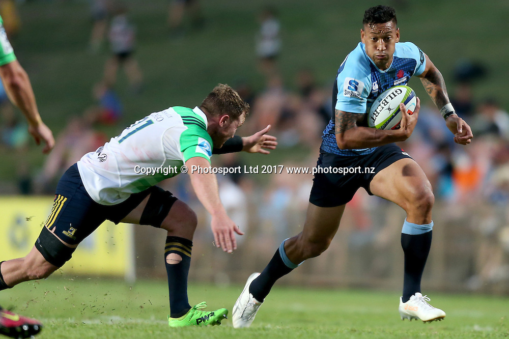 Israel Folau. 2017 Waratahs v Highlanders. Super Rugby trial match played at Lottoland (Brookvale Oval) Sydney NSW. Thursday 16 February 2017. Photo Clay Cross / photosport.nz