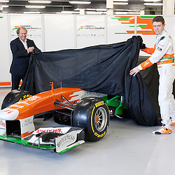 Paul Di Resta & Bob Fernley pull the sheet from overthis years VJM06 Sahara Force India F1 car. Unveiled at Silverstone Circuit, Northamptonshire, England on the 1st February 2013.  WAYNE NEAL | STOCKPIX.EU