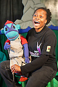 Kitty sings with Mac the monkey during rehearsals for 'No Monkey Business' AREPP: Theatre for Life provides interactive social life skills education to school children through theatre productions.