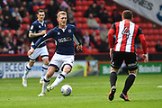 Millwall FC midfielder George Saville (23) against Sheffield United midfielder John Fleck (4)  during the EFL Sky Bet Championship match between Sheffield United and Millwall at Bramall Lane, Sheffield, England on 14 April 2018. Picture by Ian Lyall.