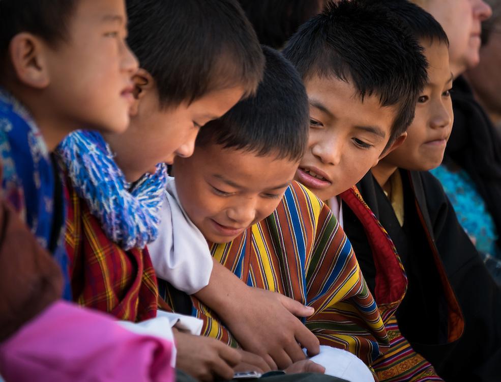 THIMPU, BHUTAN - CIRCA OCTOBER 2014: Portrait of Bhutanese kids playing.