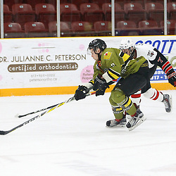 TRENTON, ON  - MAY 4,  2017: Canadian Junior Hockey League, Central Canadian Jr. &quot;A&quot; Championship. The Dudley Hewitt Cup. Game 5 between Powassan Voodoos and the Georgetown Raiders. Arran MacDonald #7 of the Georgetown Raiders pursues the play and the Powassan Voodoos player during the third period.<br /> (Photo by Tim Bates / OJHL Images)