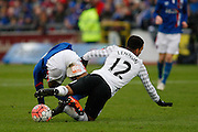 Everton midfielder Aaron Lennon battles for the ball during the The FA Cup fourth round match between Carlisle United and Everton at Brunton Park, Carlisle, England on 31 January 2016. Photo by Craig McAllister.