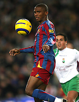Fotball<br /> Spania 2005/2006<br /> Foto: Panoramic/Digitalsport<br /> NORWAY ONLY<br /> <br /> 27.11.2005  <br /> Barcelona v Racing Santander 4-1<br /> <br /> Samuel Etoo / Eto'o (Barcelona)