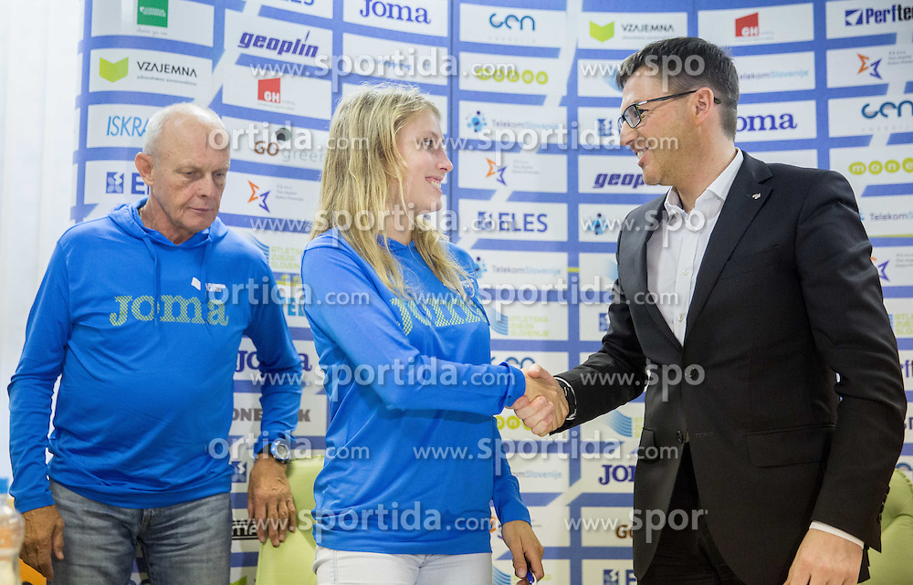 Svjetlan Vujasin, Marusa Mismas and Roman Dobnikar, new president of AZS during press conference when Slovenian athletes and their coaches sign contracts with Athletic federation of Slovenia for year 2016, on February 25, 2016 in AZS, Ljubljana, Slovenia. Photo by Vid Ponikvar / Sportida