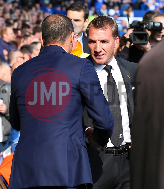 Everton Manager, Roberto Martinez shakes hands with Liverpool Manager, Brendan Rodgers  - Mandatory byline: Matt McNulty/JMP - 07966 386802 - 04/10/2015 - FOOTBALL - Goodison Park - Liverpool, England - Everton  v Liverpool - Barclays Premier League