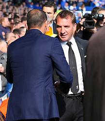 Everton Manager, Roberto Martinez shakes hands with Liverpool Manager, Brendan Rodgers  - Mandatory byline: Matt McNulty/JMP - 07966 386802 - 04/10/2015 - FOOTBALL - Goodison Park - Liverpool, England - Everton  v Liverpool - Barclays Premier League
