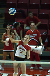 26 September 2006: Redbird Mary Catherine Richmond serves. The match was tough and it took the Illinois State Redbirds 5 games to defeat the St. Louis University Billikens. The match took place at Redbird Arena on the campus of Illinois State University in Normal Illinois.