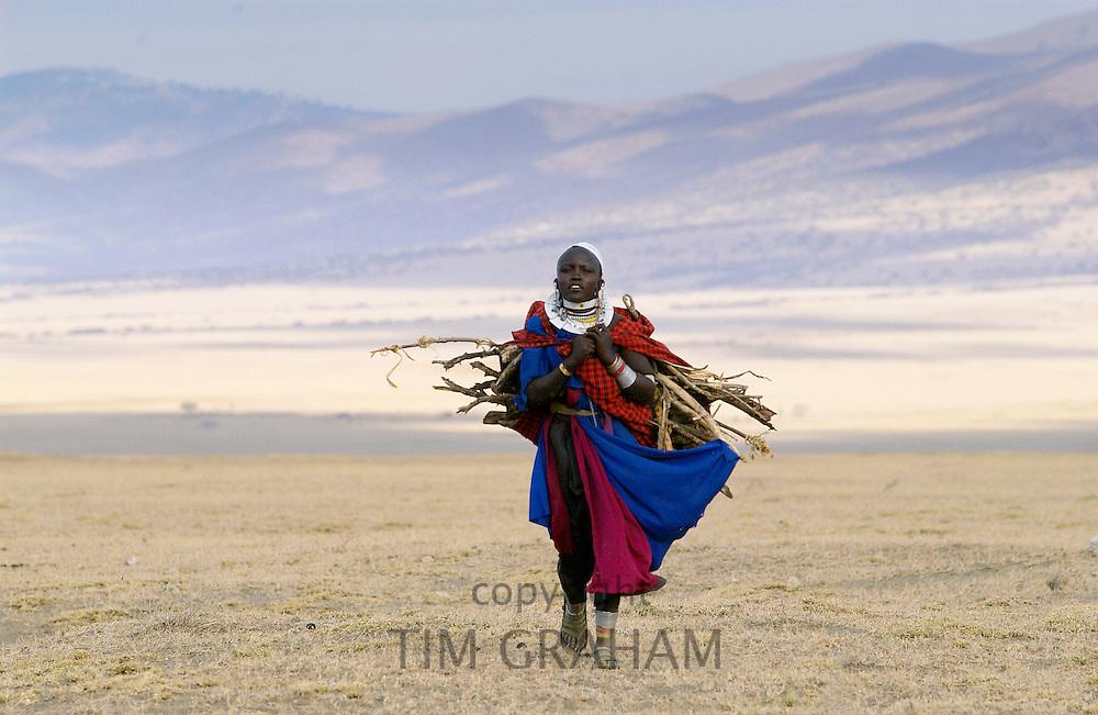 Young Masai girl  in the Serengei Plains, Tanzania.