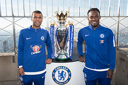 November 27, 2017 - New York, New York, U.S - The Empire State Building hosts former Chelsea FC legends ASHLEY COLE, L,  and MICHAEL ESSIEN, R with the Premiere League Trophy on November 27, 2017 in New York. (Credit Image: © Bryan Smith via ZUMA Wire)