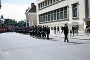 Military march procession on Bastille Day through streets of Chartres, Eure-et-Loir, France 14th July 1970