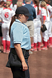 09 May 2014: Home Plate umpire Leah Bowen  during an NCAA Missouri Valley Conference (MVC) Championship series women's softball game between the Loyola Ramblers and the Illinois State Redbirds on Marian Kneer Field in Normal IL
