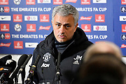 Manchester United manager Jose Mourinho in the post match interview during the The FA Cup 4th round match between Yeovil Town and Manchester United at Huish Park, Yeovil, England on 26 January 2018. Photo by Graham Hunt.