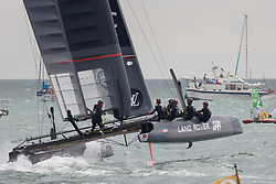 July 24, 2016 - Portsmouth, Hampshire, United Kingdom - Portsmouth, United Kingdom.  Land Rover BAR competing in the second day of racing for the America's Cup World Series (ACWS) held in Portsmouth this weekend, 22nd-24th July 2016. British Olympic sailing legend, Sir Ben Ainslie, is leading his all-British team, Land Rover BAR, against other teams in a battle to qualify for a place in the two team America's Cup final, to be held in Bermuda in 2017. (Credit Image: © Rob Arnold/London News Pictures via ZUMA Wire)