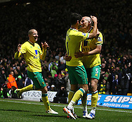 Picture by Paul Chesterton/Focus Images Ltd.  07904 640267.10/12/11.Steve Morison of Norwich scores his sides 3rd goal and celebrates during during the Barclays Premier League match at Carrow Road Stadium, Norwich.