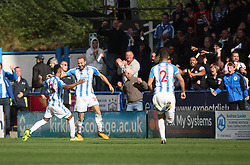 Laurent Depoitre of Huddersfield Town (C) celebrates after scoring his sides first goal - Mandatory by-line: Jack Phillips/JMP - 16/09/2017 - FOOTBALL - The John Smith's Stadium - Huddersfield, England - Huddersfield Town v Leicester City - English Premier League