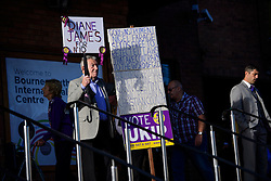©  London News Pictures. 17/09/2016. Bournemouth, UK. Party supporters arrive at Day 2 of the 2016 UKIP Autumn Conference, held at the Bournemouth International Centre in Bournemouth, Dorset. On Friday, the party elected Diane James as their new leader, following Nigel Farage resignation after the UK voted to leave the EU in a referendum..  Photo credit: Ben Cawthra/LNP