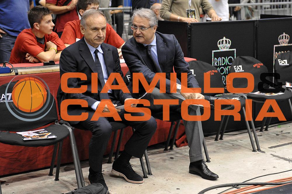 DESCRIZIONE : Milano Lega A 2013-14 EA7 Emporio Armani Milano vs Montepaschi Siena playoff finale gara 2<br /> GIOCATORE : Gianni Giovanni Petrucci Valentino Renzi<br /> CATEGORIA : Vip<br /> SQUADRA : <br /> EVENTO : finale gara 2 playoff<br /> GARA : EA7 Emporio Armani Milano vs Montepaschi Siena gara2<br /> DATA : 17/06/2014<br /> SPORT : Pallacanestro <br /> AUTORE : Agenzia Ciamillo-Castoria/A.Scaroni<br /> Galleria : Lega Basket A 2013-2014  <br /> Fotonotizia : Milano Lega A 2013-14 EA7 Emporio Armani Milano vs Montepasci Siena playoff finale gara 2<br /> Predefinita :