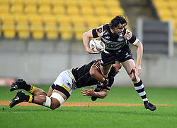 Hawkes Bay's Richard Buckman taken in a Wellington tackle in the Mitre 10 Cup rugby match at Westpac Stadium, Wellington, New Zealand, Wednesday, September 06, 2017. Credit:SNPA / Ross Setford  **NO ARCHIVING**