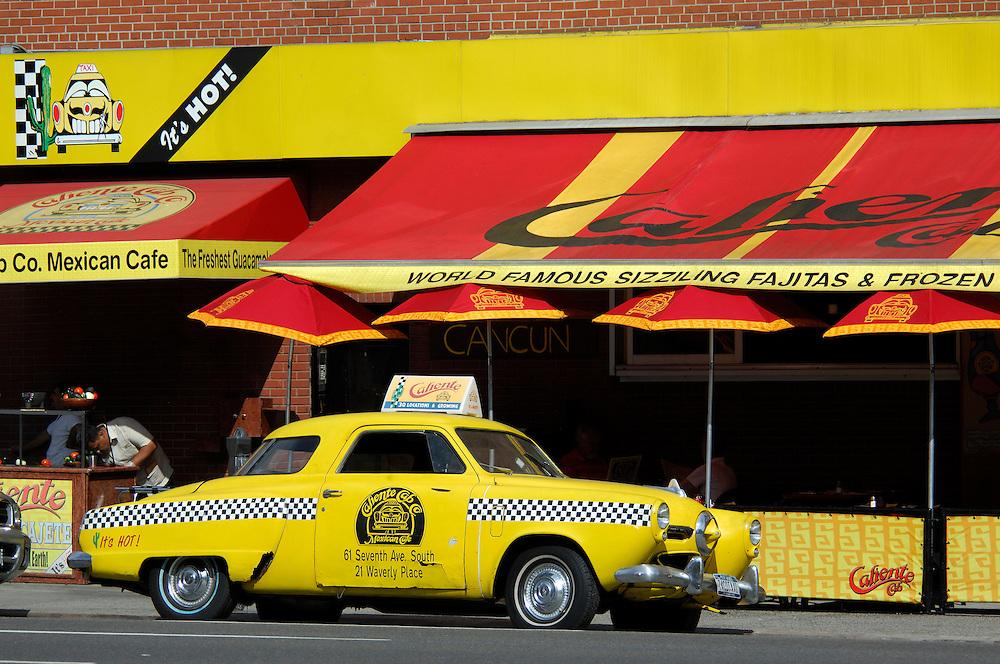 Caliente Cab Co. Mexican Restaurant, 7th Avenue, Greenwich Village, Manhattan, New York, New York, USA.