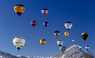 The annual Hot Air Balloon Festival, Chateau d'Oex, Switzerland.<br /> Picture date: Monday February 5, 2018.<br /> Photograph by Christopher Ison &copy;<br /> 07544044177<br /> chris@christopherison.com<br /> www.christopherison.com